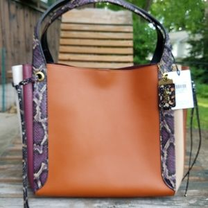 COACH HARMONY HOBO IN SUNSET MULTI WITH SNAKESKIN